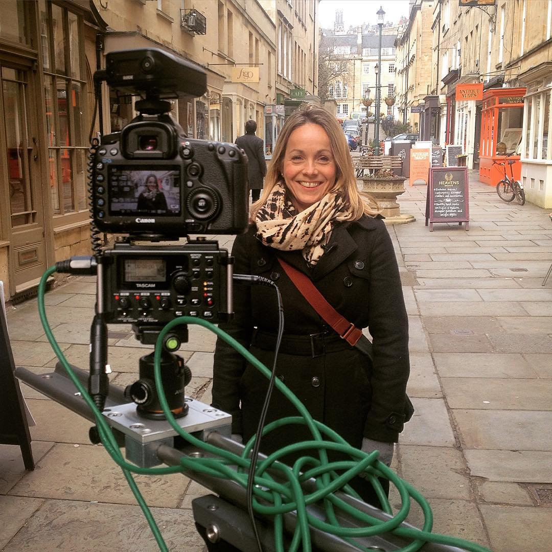 a photo from filming with bath tourism plus ishowcasing the city of bath